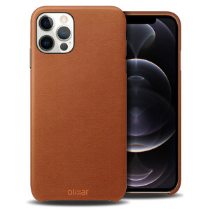 Crafted from premium genuine leather, this exquisite brown case from Olixar for the iPhone 12 Pro provides stunning style and prestigious protection for your phone in a slim and sleek package.