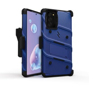 Equip your Samsung Galaxy Note 20 with military-grade protection and superb functionality with the ultra-rugged Bolt case in Blue from Zizo. Coming complete with a handy belt clip and integrated kickstand.