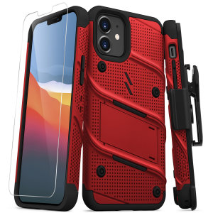 Equip your iPhone 12 mini with military-grade protection & superb functionality with the ultra-rugged Bolt case in red from Zizo. Coming complete with a handy belt clip and integrated kickstand.