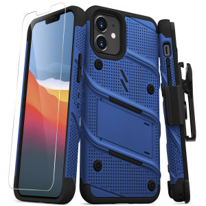 Equip your iPhone 12 mini with military-grade protection & superb functionality with the ultra-rugged Bolt case in blue from Zizo. Coming complete with a handy belt clip and integrated kickstand.