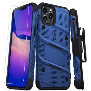Equip your iPhone 12 Pro Max with military-grade protection & superb functionality with the ultra-rugged Bolt case in blue from Zizo. Coming complete with a handy belt clip and integrated kickstand.