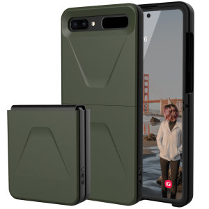The UAG Civilian Case in Olive for the Samsung Galaxy Z Flip 5G features a classic tough-looking, composite design with a soft impact-absorbing core & hard exterior that provides superb protection in all situations. Compatible with wireless charging.