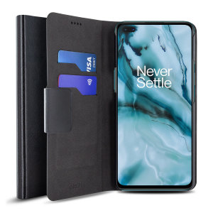 Protect your OnePlus Nord with this durable and stylish black leather-style wallet case by Olixar. What's more, this case transforms into a handy stand to view media.