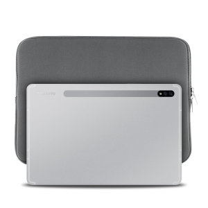 The grey Olixar universal neoprene sleeve is a slim, form-fitting and extremely durable case for your Samsung Galaxy Tab S7. With a unique, sleek and stylish design.