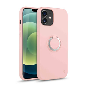 Zizo Revolve Series iPhone 12 Thin Ring Case - Rose Quartz