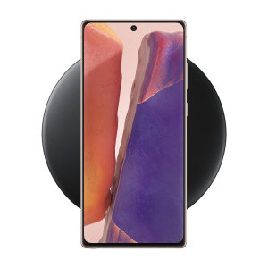 Wirelessly charge your Samsung Galaxy Note 20 with Wireless Fast Charge technology using this official Samsung Qi Wireless Charging Pad in black.