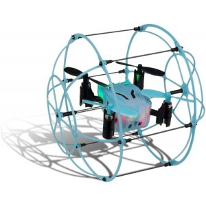 The Arcade Mini Pico Cage Remote Controlled Drone allows you to explore like never before; speed across the floor, bounce off objects, soar the sky and even roll across the ceiling with the simple press of a button.