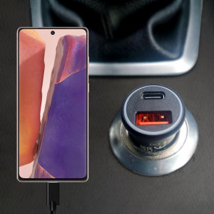 Featuring a USB-C port and Qualcomm Quick Charge 3.0 USB-A port this Olixar Samsung Galaxy Note 20 charger can simultaneously fast charge two devices at once. The charger includes Power Delivery (PD) to allow your S20  to charge up to 70% faster.