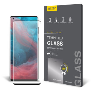 This ultra-thin tempered glass full cover screen protector for the Motorola Edge Plus from Olixar with black front offers edge to edge toughness, high visibility and sensitivity all in one package.