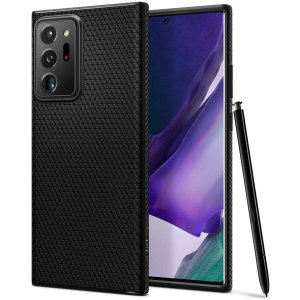 The Spigen Liquid Air in matte black is a TPU lightweight protective case. Spigen's flexible and elastic material reduces the thickness of the case while providing shock absorption and a comfortable grip for your shiny new Galaxy Note 20 Ultra 4G/5G.