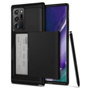 The Spigen Samsung Galaxy Note 20 Ultra 4G/5G Slim Armor CS Case in gunmetal features a back compartment that can hold up to 2 credit cards or IDs. It is constructed with the Air Cushion Technology that gives extreme shock absorption and device protection
