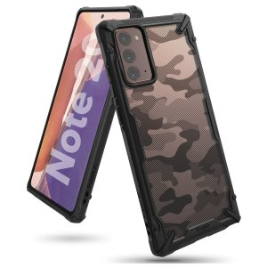 Keep your Samsung Galaxy Note 20 5G protected from bumps and drops with the Rearth Ringke Fusion X tough case in Camo Black. Featuring a 2-part, Polycarbonate design, this case lives up to military drop-test standards whilst being incredibly stylish.