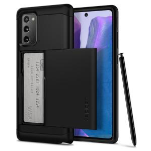 The Spigen Samsung Galaxy Note 20 5G Slim Armor CS Case in gunmetal features a back compartment that can hold up to 2 credit cards or IDs. It is constructed with the Air Cushion Technology that gives extreme shock absorption and device protection.