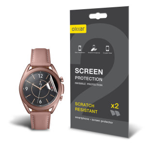 Keep your Samsung Galaxy Watch 3 41mm Frontier or Classic smartwatch screen in pristine condition with this Olixar scratch-resistant TPU screen protector 2-in-1 pack.