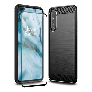 Flexible rugged casing with a premium matte finish non-slip carbon fibre and brushed metal design, the Olixar Sentinel case in black keeps your Oneplus Nord protected from 360 degrees with the added bonus of a tempered glass screen protector.