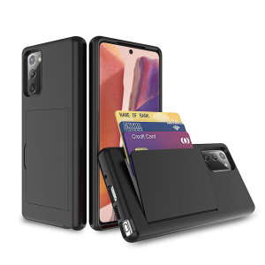 Protect your Samsung Galaxy Note 20 from bumps, scrapes and drops with the Amour Vault case in black from Olixar. Featuring a protective hybrid design and a concealed storage area which holds up to two credit cards or ID.