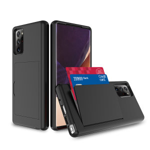 Protect your Samsung Galaxy Note 20 Ultra from bumps, scrapes and drops with the Amour Vault case in black from Olixar. Featuring a protective hybrid design and a concealed storage area which holds up to two credit cards or ID.