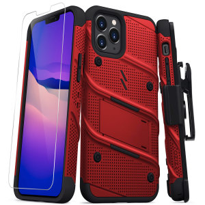 Equip your iPhone 12 Pro with military-grade protection & superb functionality with the ultra-rugged Bolt case in red from Zizo. Coming complete with a handy belt clip and integrated kickstand.