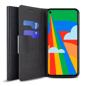 Protect your Google Pixel 5 with this durable and stylish black leather-style wallet case by Olixar. What's more, this case transforms into a handy stand to view media.