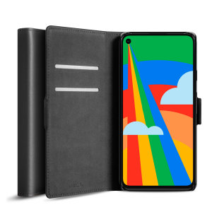 Olixar Genuine Leather Google Pixel 5 Wallet Stand Case - Black