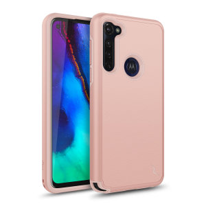 The sleek division series for the Motorola Moto G Stylus. The Rose gold finish gives you protection for your phone in style. This case is made for pure luxury and style.