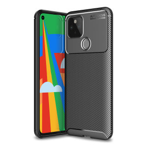 Flexible rugged casing with a premium matte finish non-slip carbon fibre and brushed metal design, the Olixar case in black keeps your Google Pixel 5 protected.