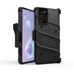 Equip your Samsung Galaxy Note 20 5G with military-grade protection and superb functionality with the ultra-rugged Bolt case in black from Zizo. Coming complete with a handy belt clip and integrated kickstand.