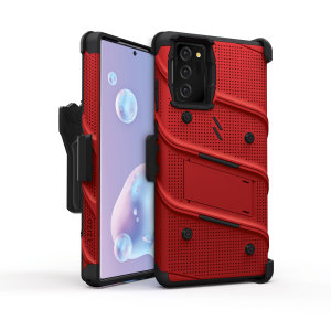 Equip your Samsung Galaxy Note 20 5G with military-grade protection and superb functionality with the ultra-rugged Bolt case in red from Zizo. Coming complete with a handy belt clip and integrated kickstand.