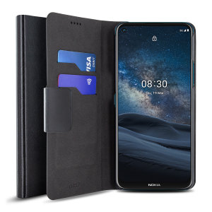 Protect your Nokia 8.3 5G with this durable and stylish black leather-style wallet case by Olixar. What's more, this case transforms into a handy stand to view media.