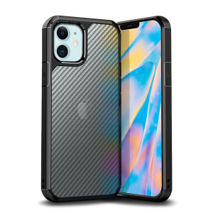 Custom fitted for the iPhone 12 mini. The Olixar ExoShield Carbon bumper case provides a slim, stylish design, with reinforced shock protection against damage. With a semi-transparent back to showcase your device through a premium carbon fibre overlay.