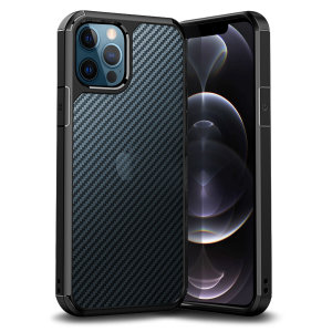 Custom moulded for the iPhone 12 Pro. This black Olixar ExoShield carbon case works with the MagSafe charger and provides a slim fitting stylish design and reinforced corner shock protection against damage, keeping your device looking great at all times.