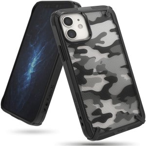 Keep your iPhone 12 mini protected from bumps & drops with the Rearth Ringke X Design tough case in Camo Black. Featuring a 2-part, Polycarbonate design, this case lives up to military drop-test standards whilst being incredibly stylish.