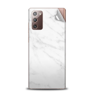 Protect your Samsung Galaxy Note 20 in sleek style with the Olixar Marble Skin in White. This Skin is completely scratch resistant & ultra-thin finished a premium marble finish leaving behind no residue. This skin will make you stand out from the crowd!