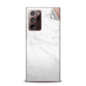 Protect your Samsung Note 20 Ultra in sleek style with the Olixar Marble Skin in White. This Skin is completely scratch resistant & ultra-thin finished a premium marble finish leaving behind no residue. This skin will make you stand out from the crowd!