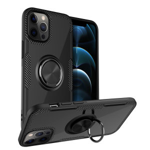 Made for the iPhone 12 Pro Max, this tough black ArmaRing case from Olixar provides extreme protection and a finger loop to keep your phone in your hand, whether from accidental drops or attempted theft. Also doubles as a stand.