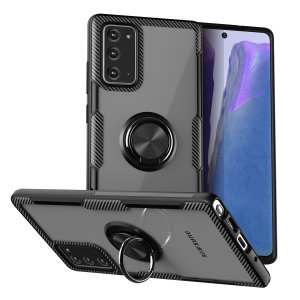 Made for the Samsung Galaxy Note 20, this tough black ArmaRing case from Olixar provides extreme protection and a finger loop to keep your phone in your hand, whether from accidental drops or attempted theft. Also doubles as a stand.