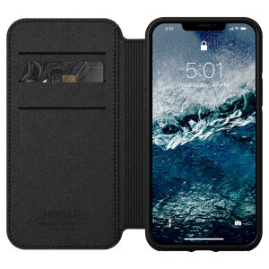 Rather than a wallet, have the Nomad iPhone 12 Rugged Folio leather case. It comes with 3 slots for your cards, 1 for cash and 360 protection from life's little accidents. Its sleek, classic Horween leather ages with you, making it fully unique!