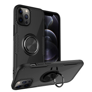 Made for the iPhone 12 Pro, this tough black ArmaRing case from Olixar provides extreme protection and a finger loop to keep your phone in your hand, whether from accidental drops or attempted theft. Also doubles as a stand.