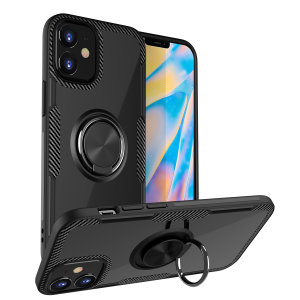 Made for the iPhone 12 Max, this tough black ArmaRing case from Olixar provides extreme protection and a finger loop to keep your phone in your hand, whether from accidental drops or attempted theft. Also doubles as a stand.