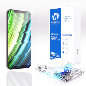The Whitestone Dome Glass screen protector for iPhone 12 uses a UV lamp with a proprietary UV adhesive installation to ensure a total and perfect fit for your device. Featuring 9H hardness for absolute protection, as well as 100% touch sensitivity.
