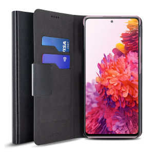 Protect your Samsung Galaxy S20 Fan Edition 4G / 5G with this durable and stylish black leather-style wallet case by Olixar. Protect your screen at all times with the flip design. What's more, this case transforms into a handy stand to view media.