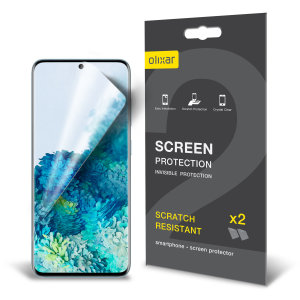 Keep your Samsung Galaxy S20 Fan Edition screen in pristine condition with this Olixar scratch-resistant film screen protector 2-in-1 pack.