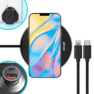 The complete fast charging starter pack for iPhone 12 is finally here from Olixar. Featuring 2x USB-C to Lightning cables, an 18W fast charger, a 36W car adapter and 10W wireless charging pad, you can stay powered up in the car, office or at home.