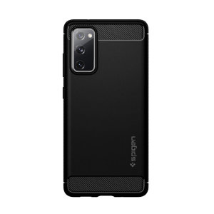 Get unrivalled look and defence for your Galaxy S20 FE, in the matte black rugged armour case by Spigen. Its slim frame is textured with carbon fibre detailing and subtle glossy accents, so you can enjoy style and protection all in a single layer.
