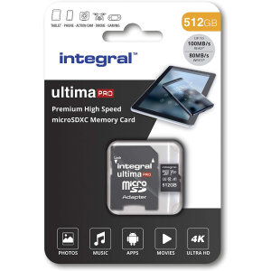 This Integral 512 GB high-speed memory card will retain the quality of photos, videos and games whilst also keeping them safe. It has significant storage space for gaming, smartphone or tablet photos and filming in Ultra 4K HD on your drone or camera!
