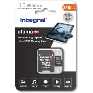 This Integral 256 GB high-speed memory card will retain the quality of photos, videos and games whilst also keeping them safe. It has significant storage space for gaming, smartphone or tablet photos and filming in Ultra 4K HD on your drone or camera!