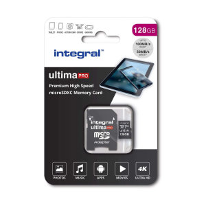 This Integral 128 GB high-speed memory card will retain the quality of photos, videos and games whilst also keeping them safe. It has storage space for gaming, smartphone or tablet photos and filming in Ultra 4K HD on your drone or camera!