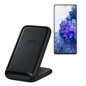 Wirelessly charge your Samsung Galaxy S20 FE / S20 FE 5G smartphone with Wireless Fast Charge technology using this official Samsung Qi Wireless Charging Pad in black.