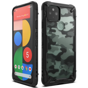 Keep your Google Pixel 5 protected from bumps and drops with the Ringke Fusion X Design tough case in Camo Black. Featuring a 2-part, Poly-carbonate design, this case lives up to military drop-test standards and provides the ultimate protection.
