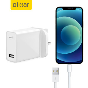 Charge your USB-A device quickly & conveniently with this High Power UK mains adapter in white. With a power output of 2.4 Amp it will fast charge your iPhone 12 mini. Even better, this Olixar bundle includes a white, 1m Lightning to USB 3.0 cable.